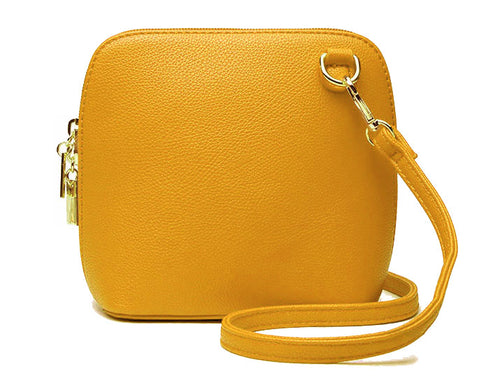 SMALL MUSTARD YELLOW PLAIN CROSS BODY BAG WITH LONG OVER SHOULDER STRAP