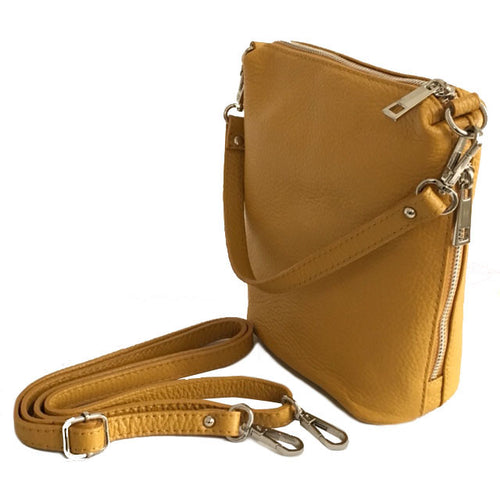 SMALL MUSTARD YELLOW GENUINE ITALIAN LEATHER SHOULDER HANDBAG WITH CROSS BODY STRAP