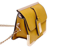 ORDER BY REQUEST - SMALL MUSTARD YELLOW LEATHER EFFECT CROSS-BODY CHAIN SHOULDER BAG