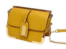 SMALL MUSTARD YELLOW LEATHER EFFECT CROSS-BODY CHAIN SHOULDER BAG