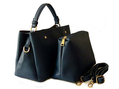SMALL NAVY BLUE 2 PIECE HOLDALL HANDBAG SET WITH DETACHABLE INNER BAG AND LONG STRAP