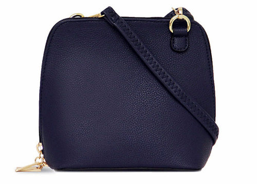 SMALL NAVY BLUE PLAIN CROSS BODY BAG WITH LONG OVER SHOULDER STRAP