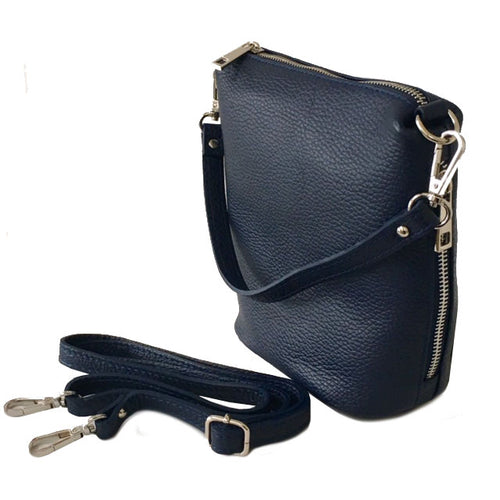 SMALL NAVY BLUE GENUINE ITALIAN LEATHER SHOULDER HANDBAG WITH CROSS BODY STRAP