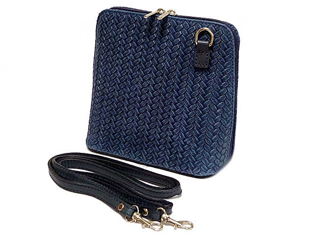 SMALL NAVY BLUE GENUINE LEATHER WOVEN BAG WITH LONG SHOULDER STRAP