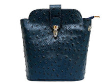 A-SHU SMALL NAVY BLUE GENUINE OSTRICH LEATHER BAG WITH LONG SHOULDER STRAP - A-SHU.CO.UK
