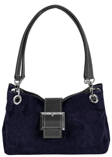A-SHU SMALL NAVY BLUE GENUINE SUEDE MULTI POCKET SHOULDER HANDBAG WITH BUCKLE - A-SHU.CO.UK