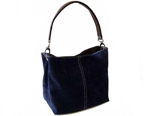 SMALL NAVY BLUE GENUINE SUEDE MULTI POCKET LIGHTWEIGHT HANDBAG