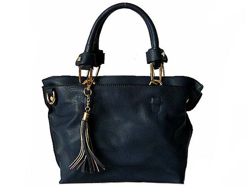 SMALL NAVY BLUE MULTI-COMPARTMENT TASSEL HANDBAG WITH LONG SHOULDER STRAP