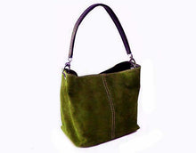 A-SHU SMALL OLIVE GREEN GENUINE SUEDE MULTI POCKET LIGHTWEIGHT HANDBAG - A-SHU.CO.UK