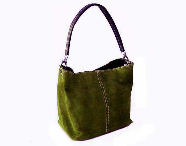 SMALL OLIVE GREEN GENUINE SUEDE MULTI POCKET LIGHTWEIGHT HANDBAG