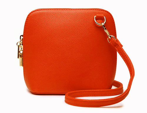 SMALL ORANGE PLAIN CROSS BODY BAG WITH LONG OVER SHOULDER STRAP