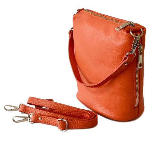SMALL ORANGE GENUINE ITALIAN LEATHER SHOULDER HANDBAG WITH CROSS BODY STRAP