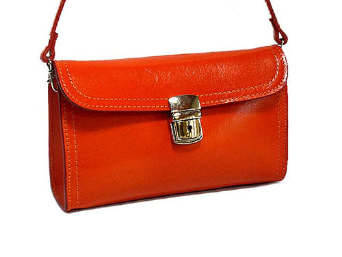 SMALL ORANGE GENUINE LEATHER CLUTCH BAG / SHOULDER BAG WITH LONG STRAP