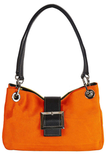 SMALL ORANGE GENUINE SUEDE MULTI POCKET HANDBAG WITH BUCKLE