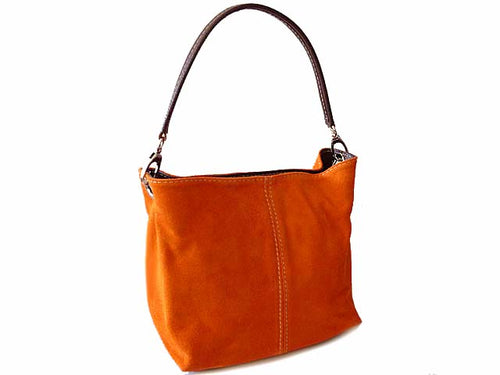 A-SHU SMALL ORANGE GENUINE SUEDE MULTI POCKET LIGHTWEIGHT HANDBAG - A-SHU.CO.UK