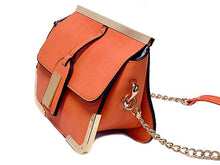 SMALL ORANGE LEATHER EFFECT CROSS-BODY CHAIN SHOULDER BAG