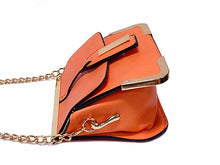 A-SHU SMALL ORANGE LEATHER EFFECT CROSS-BODY CHAIN SHOULDER BAG - A-SHU.CO.UK