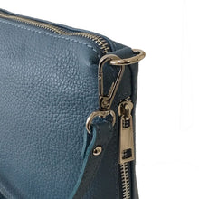 A-SHU SMALL DARK PASTEL BLUE GENUINE ITALIAN LEATHER SHOULDER HANDBAG WITH CROSS BODY STRAP - A-SHU.CO.UK