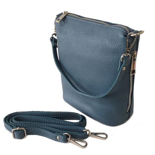 SMALL DARK PASTEL BLUE GENUINE ITALIAN LEATHER SHOULDER HANDBAG WITH CROSS BODY STRAP