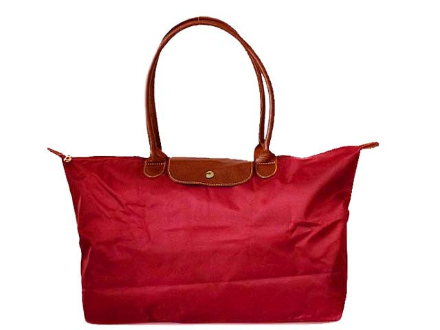 SMALL PART GENUINE LEATHER RED FOLD-AWAY TRAVEL SHOPPER TOTE HANDBAG