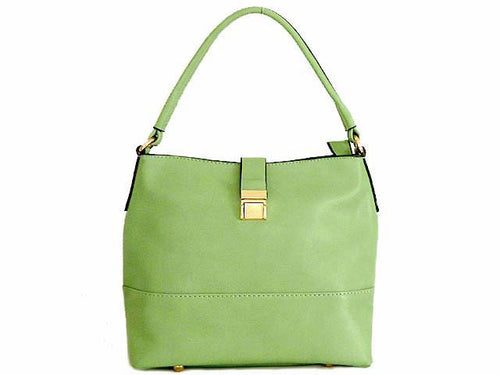 SMALL PASTEL GREEN COMPACT SINGLE STRAP HANDBAG WITH LONG CROSS BODY STRAP