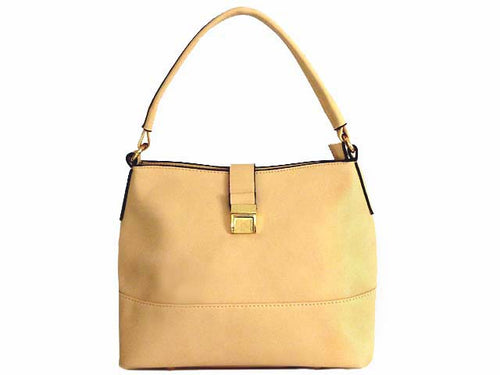 SMALL PEACH BEIGE COMPACT SINGLE STRAP HANDBAG WITH LONG CROSS BODY STRAP