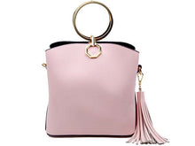 SMALL PINK MULTI-COMPARTMENT HOLDALL HANDBAG WITH TASSEL DESIGN