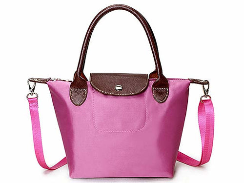SMALL PINK PART GENUINE LEATHER FOLD-AWAY CROSSBODY HANDBAG WITH STRAP