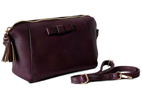 SMALL PURPLE CROSS-BODY SHOULDER BAG WITH LONG STRAP