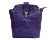 ORDER BY REQUEST - SMALL PURPLE GENUINE OSTRICH LEATHER BAG WITH LONG SHOULDER STRAP