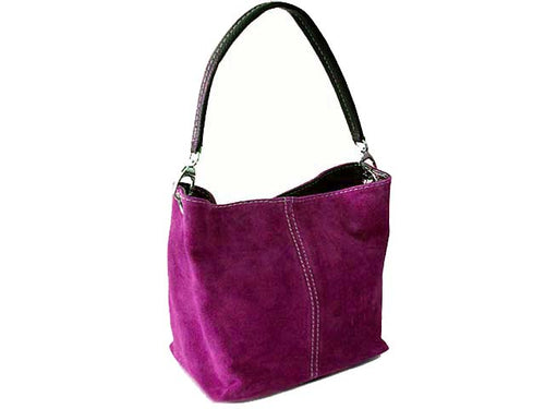 A-SHU SMALL PURPLE GENUINE SUEDE MULTI POCKET LIGHTWEIGHT HANDBAG - A-SHU.CO.UK