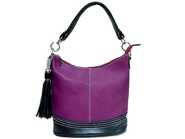 SMALL PURPLE LEATHER EFFECT TASSEL HANDBAG WITH LONG SHOULDER STRAP