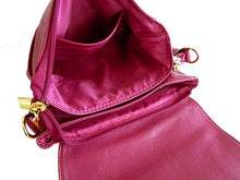 A-SHU SMALL PURPLE MULTI POCKET HANDBAG WITH LONG CROSS BODY STRAP - A-SHU.CO.UK
