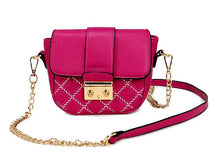 A-SHU SMALL PURPLE QUILTED CROSS BODY SHOULDER BAG / CLUTCH BAG WITH LONG CHAIN STRAP - A-SHU.CO.UK