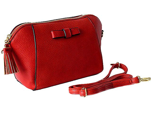SMALL RED CROSS-BODY SHOULDER BAG WITH LONG STRAP