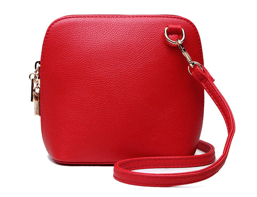 SMALL RED PLAIN CROSS BODY BAG WITH LONG OVER SHOULDER STRAP