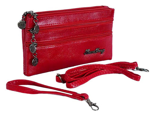 A-SHU SMALL RED FIVE POCKET CROSS BODY PURSE BAG WITH WRIST AND LONG STRAPS - A-SHU.CO.UK
