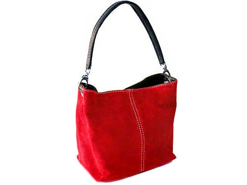 SMALL RED GENUINE SUEDE MULTI POCKET LIGHTWEIGHT HANDBAG