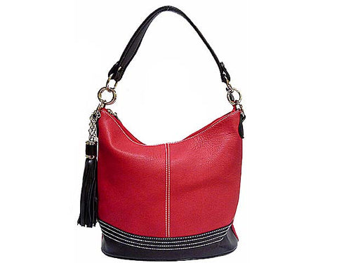 SMALL RED LEATHER EFFECT TASSEL HANDBAG WITH LONG SHOULDER STRAP