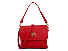 SMALL RED MULTI POCKET HANDBAG WITH LONG CROSS BODY STRAP
