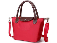SMALL RED PART GENUINE LEATHER FOLD-AWAY CROSSBODY HANDBAG WITH STRAP