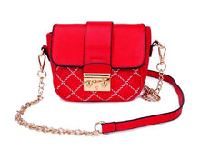 SMALL RED QUILTED CROSS BODY SHOULDER BAG / CLUTCH BAG WITH LONG CHAIN STRAP