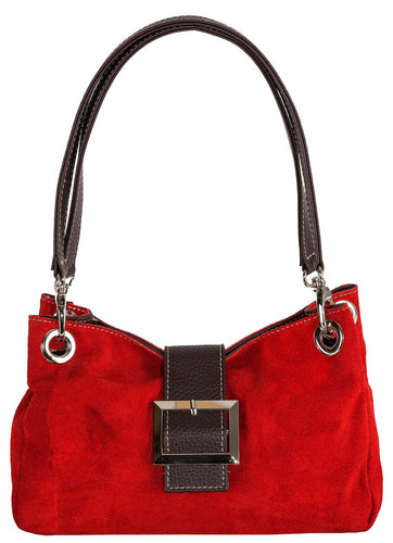 SMALL RED GENUINE SUEDE MULTI POCKET HANDBAG WITH BUCKLE