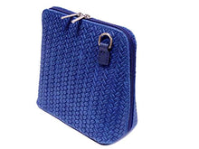 A-SHU ORDER BY REQUEST - SMALL ROYAL BLUE GENUINE LEATHER WOVEN BAG WITH LONG SHOULDER STRAP - A-SHU.CO.UK