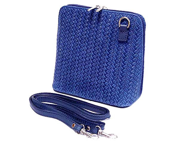 ORDER BY REQUEST - SMALL ROYAL BLUE GENUINE LEATHER WOVEN BAG WITH LONG SHOULDER STRAP