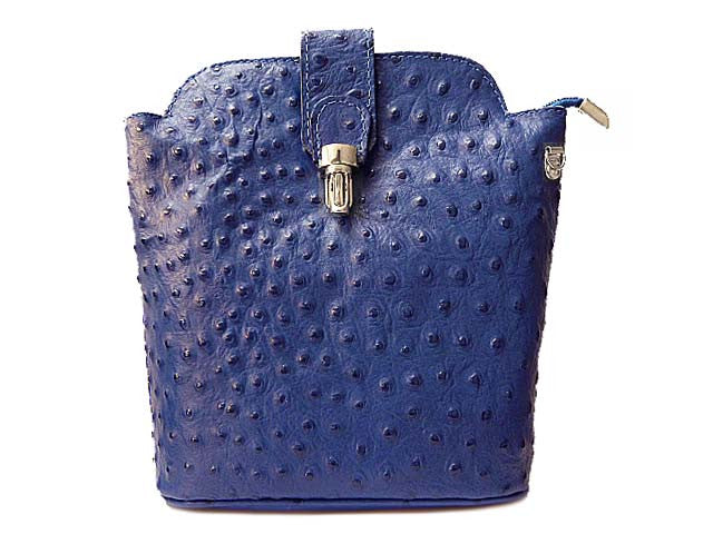 A-SHU SMALL ROYAL BLUE GENUINE OSTRICH LEATHER BAG WITH LONG SHOULDER STRAP - A-SHU.CO.UK