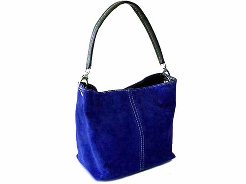 SMALL ROYAL BLUE GENUINE SUEDE MULTI POCKET LIGHTWEIGHT HANDBAG