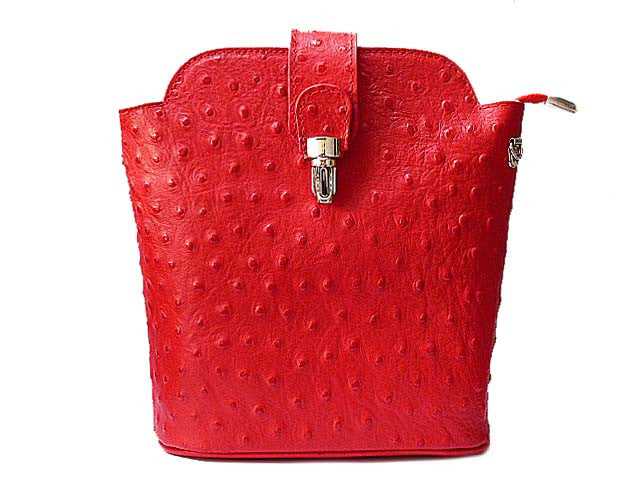 ORDER BY REQUEST - SMALL ROYAL RED GENUINE OSTRICH LEATHER BAG WITH LONG SHOULDER STRAP