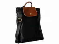 A-SHU SMALL SLIM-LINE NYLON PART GENUINE LEATHER BACKPACK / RUCKSACK - BLACK - A-SHU.CO.UK