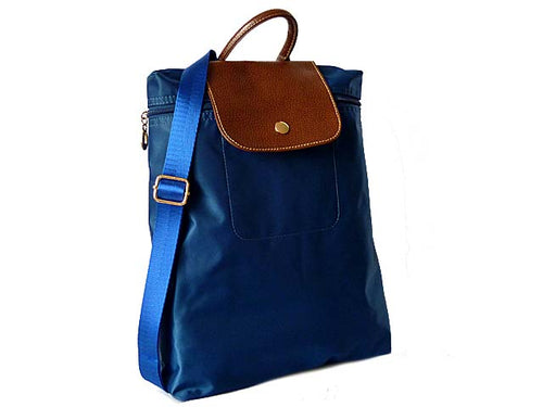 A-SHU SMALL SLIM-LINE NYLON PART GENUINE LEATHER BACKPACK / RUCKSACK - BLUE - A-SHU.CO.UK